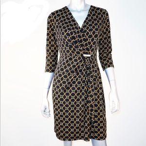 charter clubHorsebit link faux wrap dress SZ M